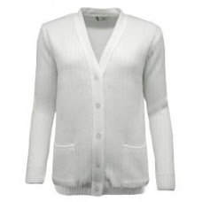 BBS Plain Ribbed Cardigan, White